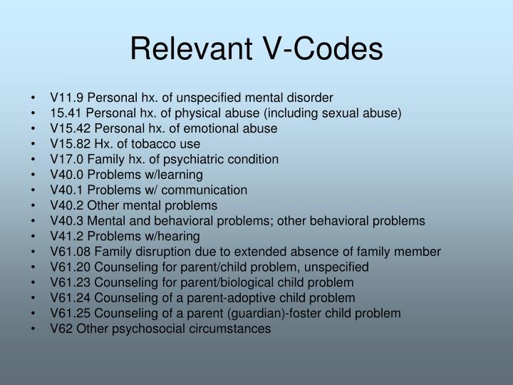 Relevant V-Codes