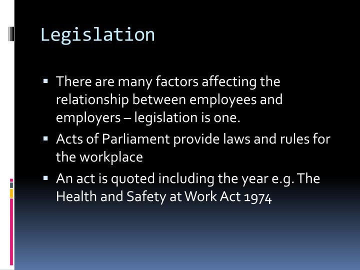 laws affecting employers and employees relationship