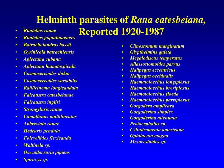 Helminth parasites of