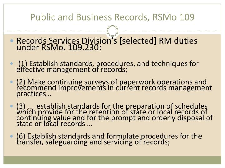 Public and Business Records, RSMo 109