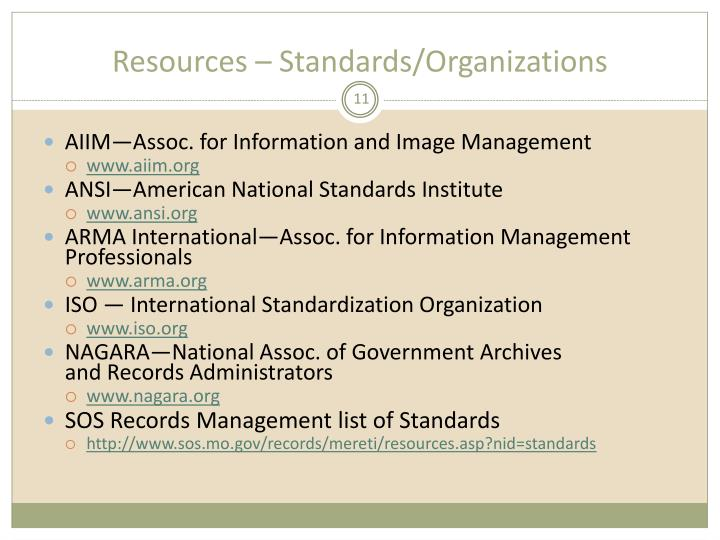 Resources – Standards/Organizations
