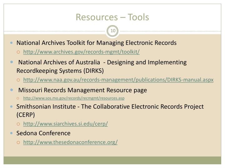 Resources – Tools