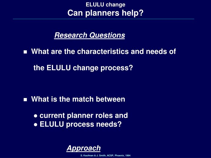 Elulu change can planners help