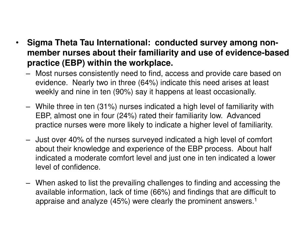 Sigma Theta Tau International:  conducted survey among non-member nurses about their familiarity and use of evidence-based practice (EBP) within the workplace.