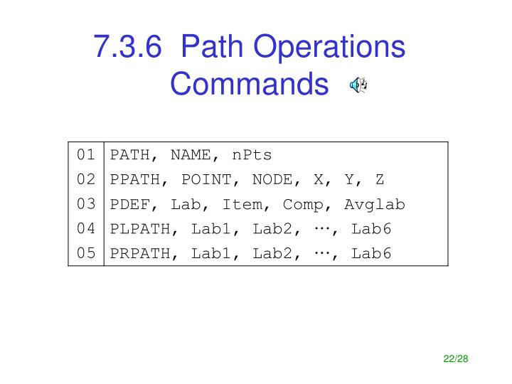 7.3.6  Path Operations Commands