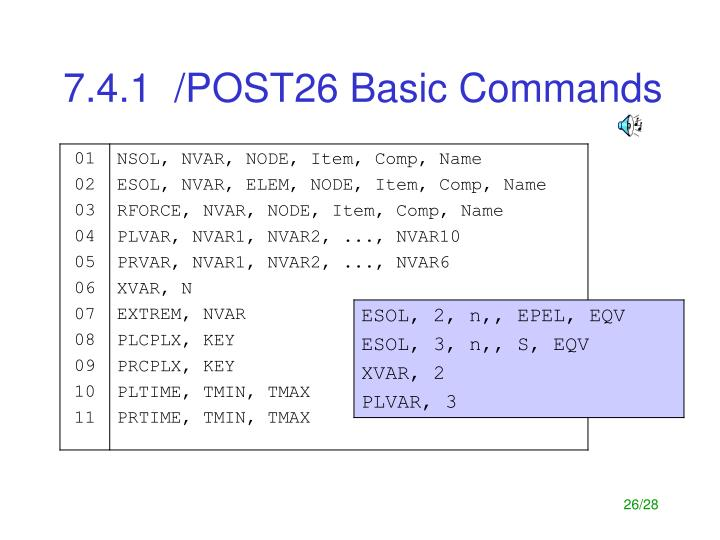 7.4.1  /POST26 Basic Commands
