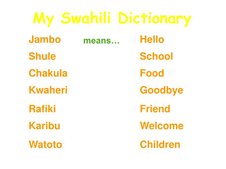 My Swahili Dictionary