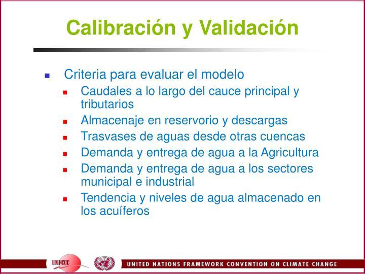 Calibración y Validación