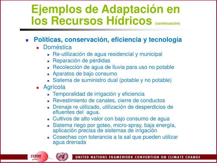 Ejemplos de Adaptacin en los Recursos Hdricos