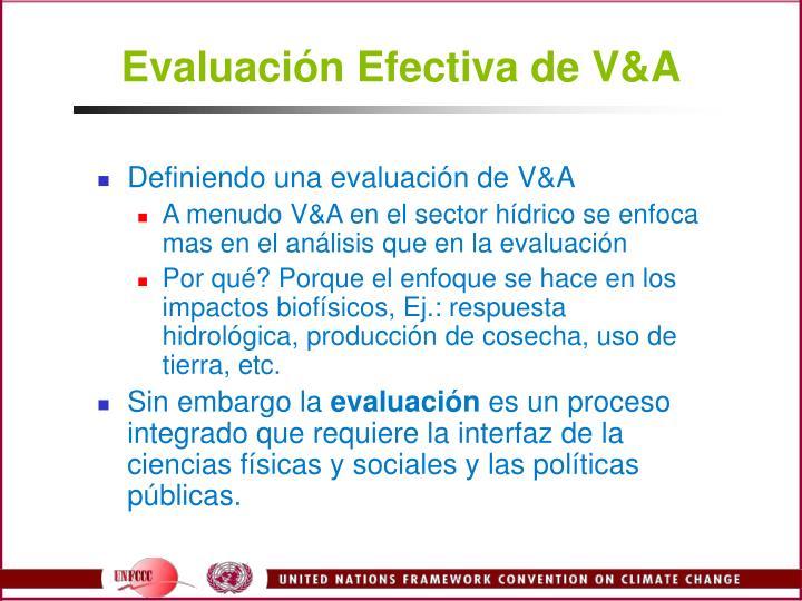Evaluación Efectiva de V&A