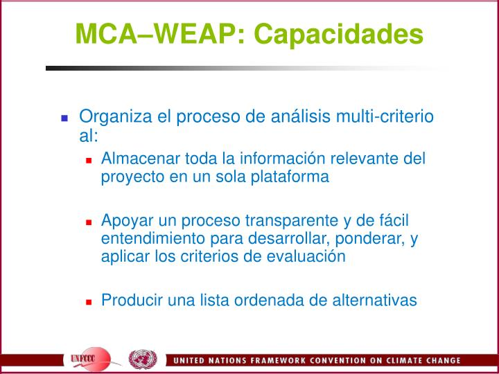 MCAWEAP: Capacidades