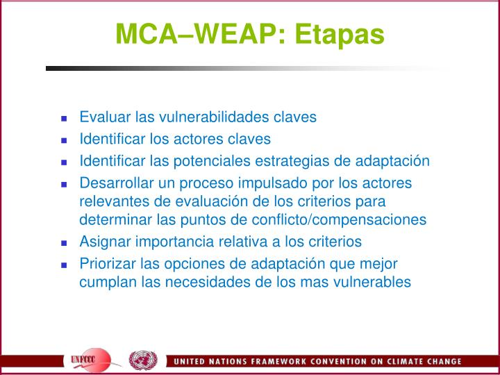 MCAWEAP: Etapas