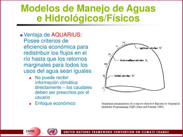 Modelos de Manejo de Aguas e Hidrolgicos/Fsicos