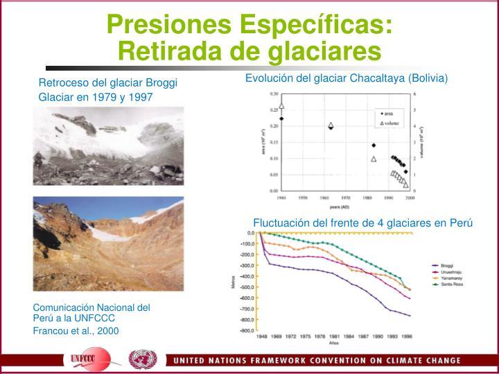 Presiones Especficas: Retirada de glaciares