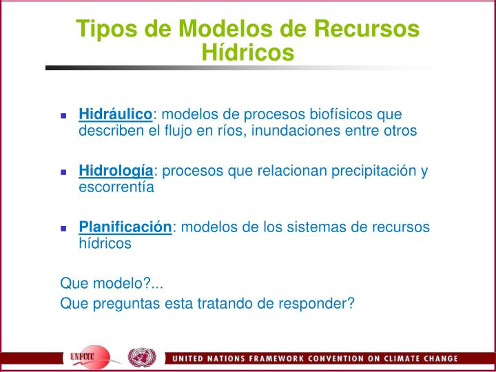 Tipos de Modelos de Recursos Hdricos