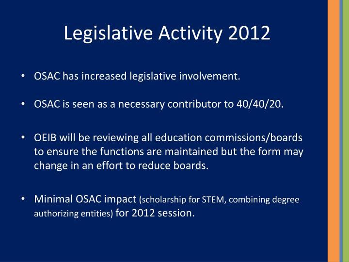 Legislative Activity 2012