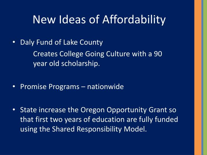 New Ideas of Affordability