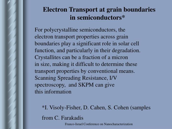 Electron Transport at grain boundaries