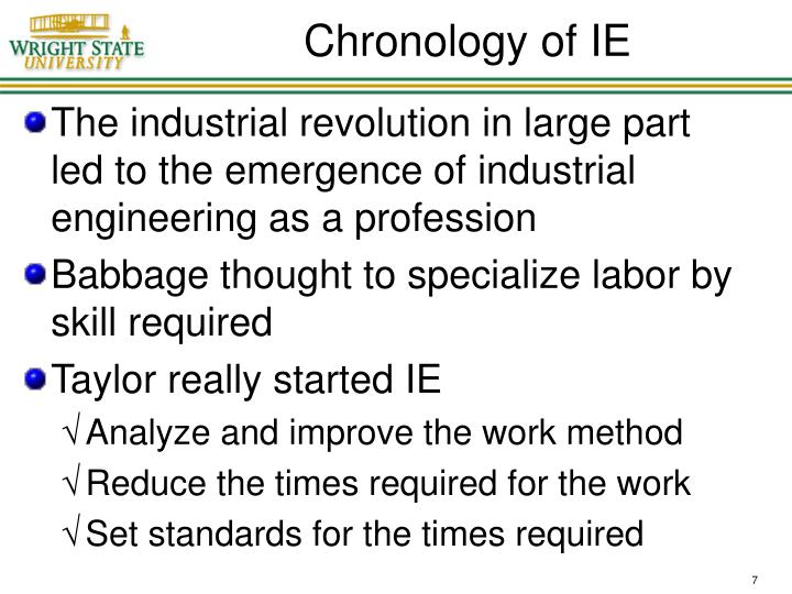 Chronology of IE