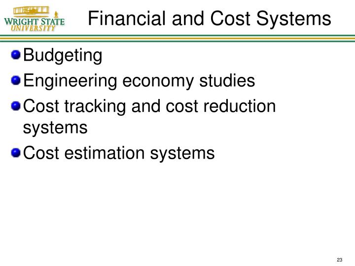 Financial and Cost Systems