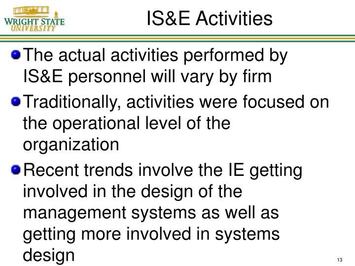 IS&E Activities
