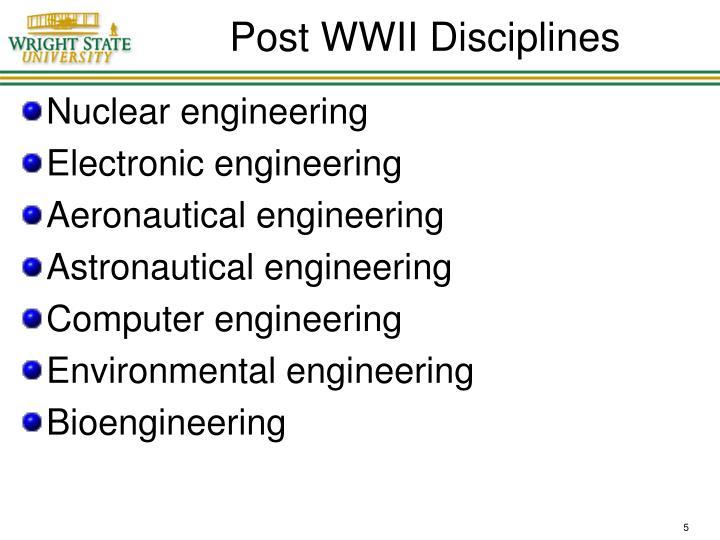 Post WWII Disciplines