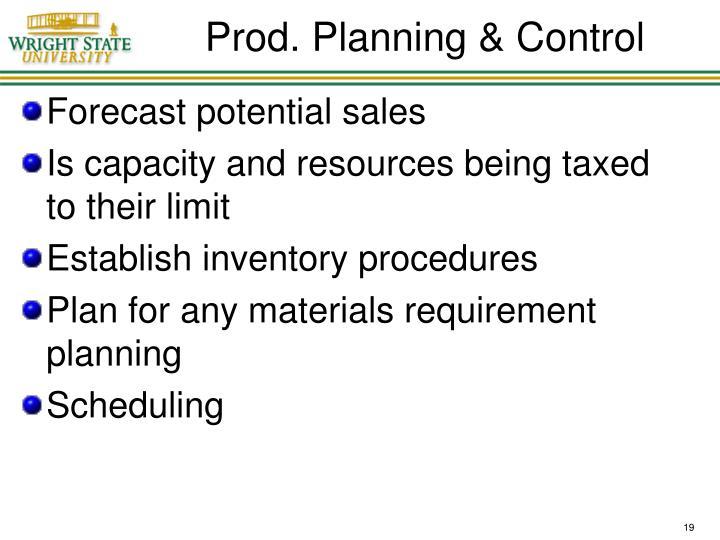 Prod. Planning & Control
