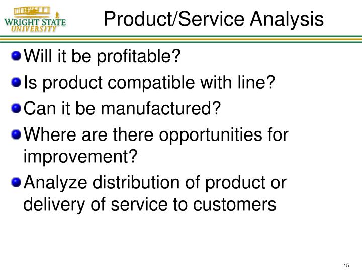 Product/Service Analysis