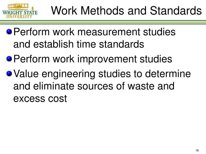 Work Methods and Standards