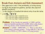 break even analysis and risk assessment