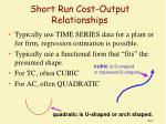 short run cost output relationships