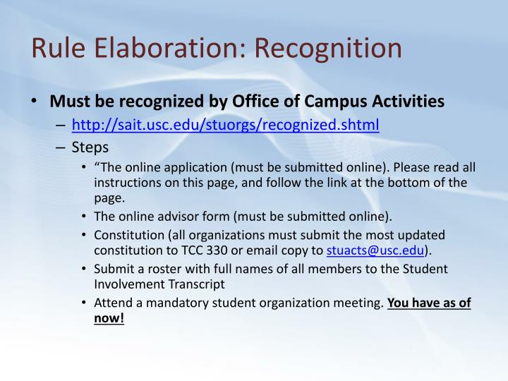 Rule Elaboration: Recognition
