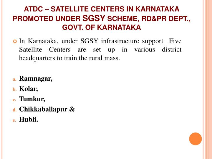 ATDC – SATELLITE CENTERS IN KARNATAKA PROMOTED UNDER
