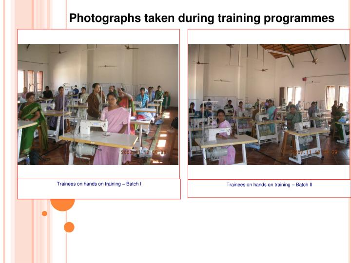 Trainees on hands on training – Batch I