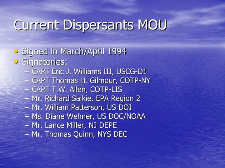 Current Dispersants MOU