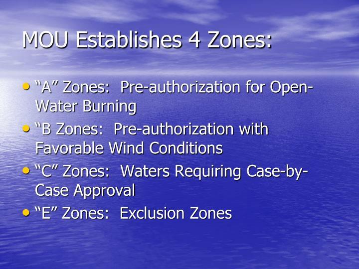 MOU Establishes 4 Zones: