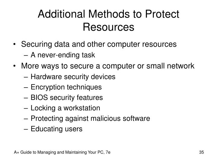 Additional Methods to Protect Resources