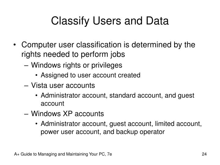 Classify Users and Data