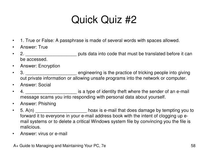 Quick Quiz #2