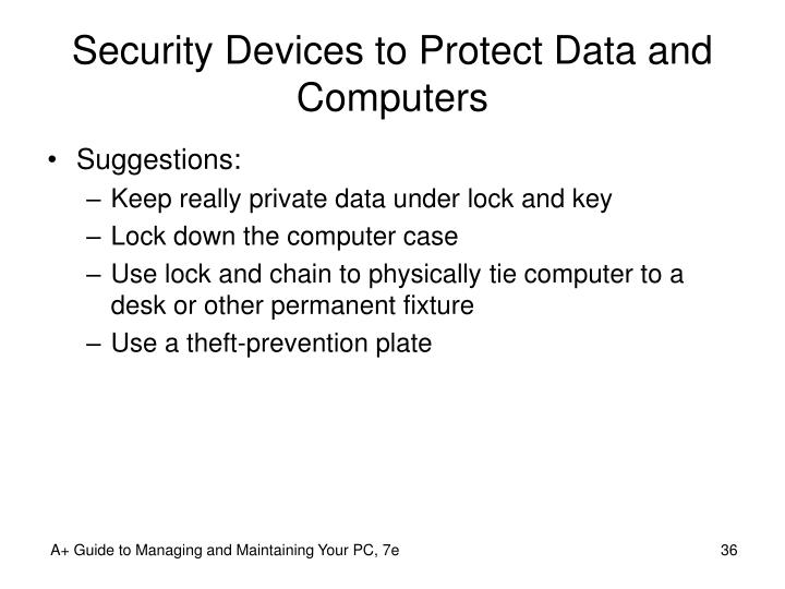 Security Devices to Protect Data and Computers