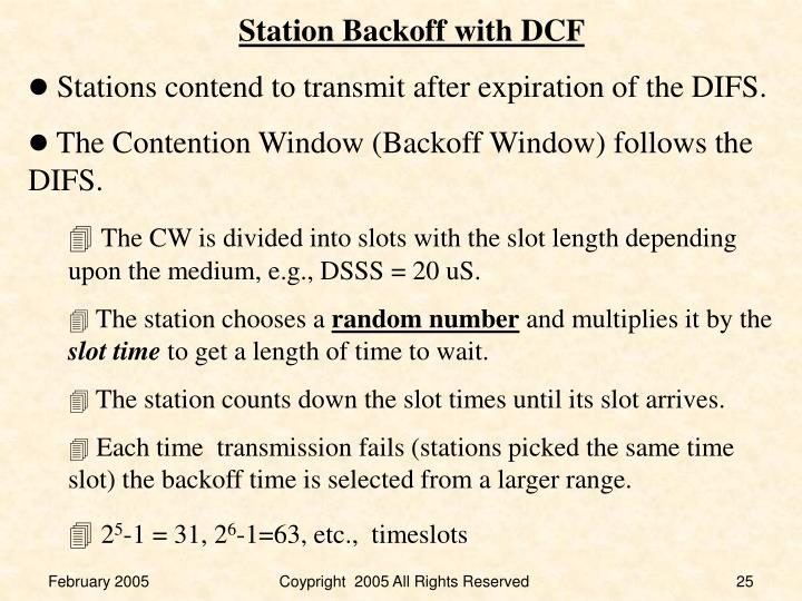 Station Backoff with DCF