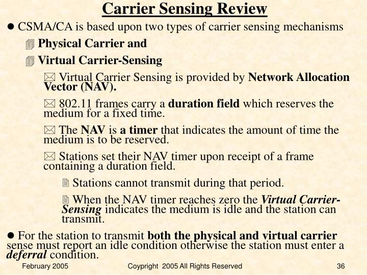 Carrier Sensing Review