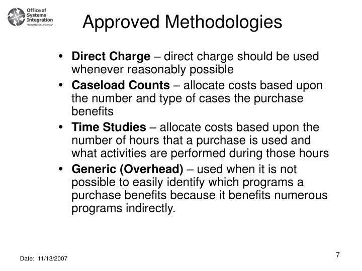 Approved Methodologies