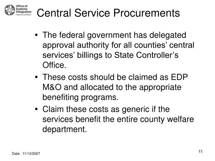 Central Service Procurements