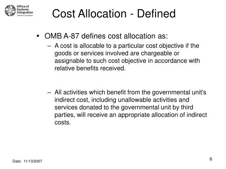 Cost Allocation - Defined