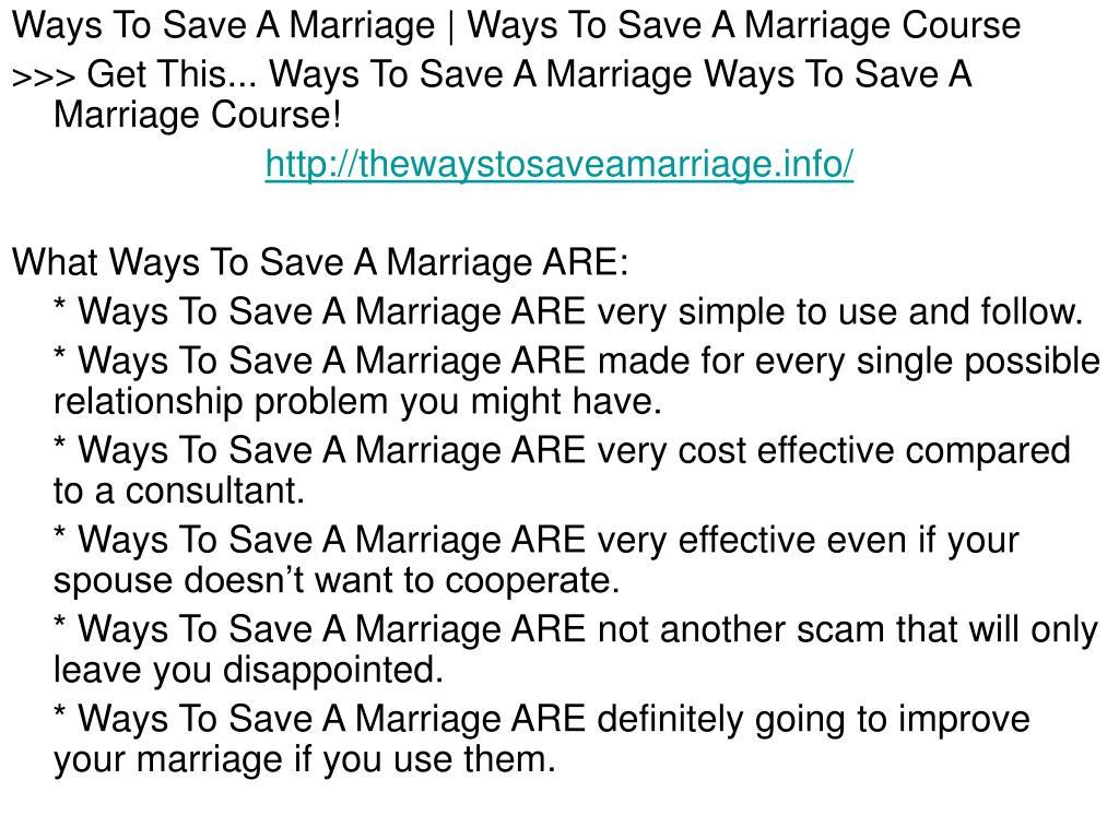 Ways To Save A Marriage | Ways To Save A Marriage Course