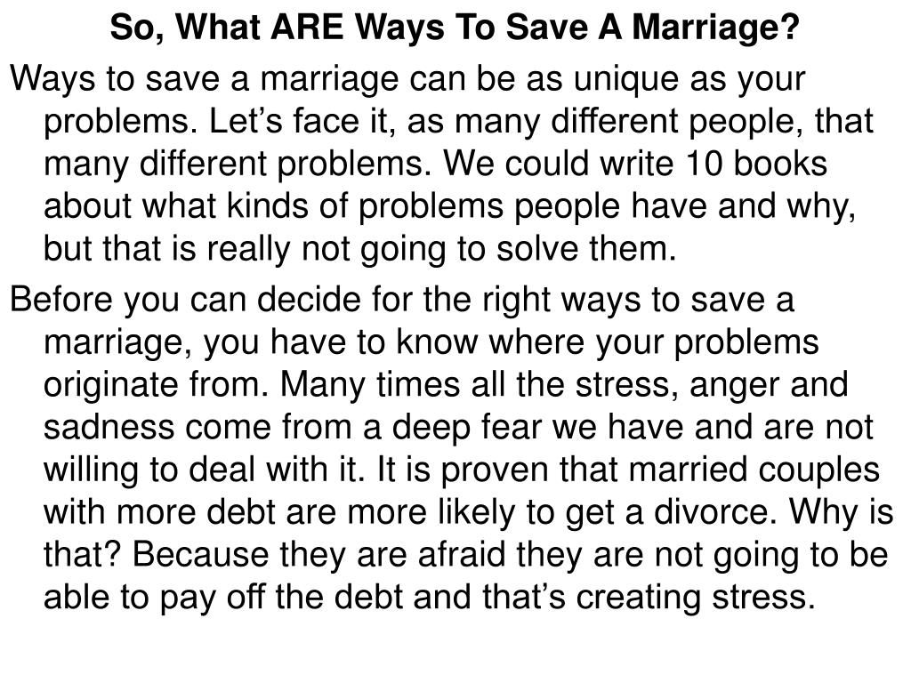 So, What ARE Ways To Save A Marriage?