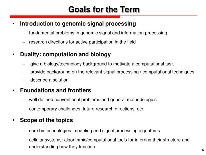 Goals for the Term