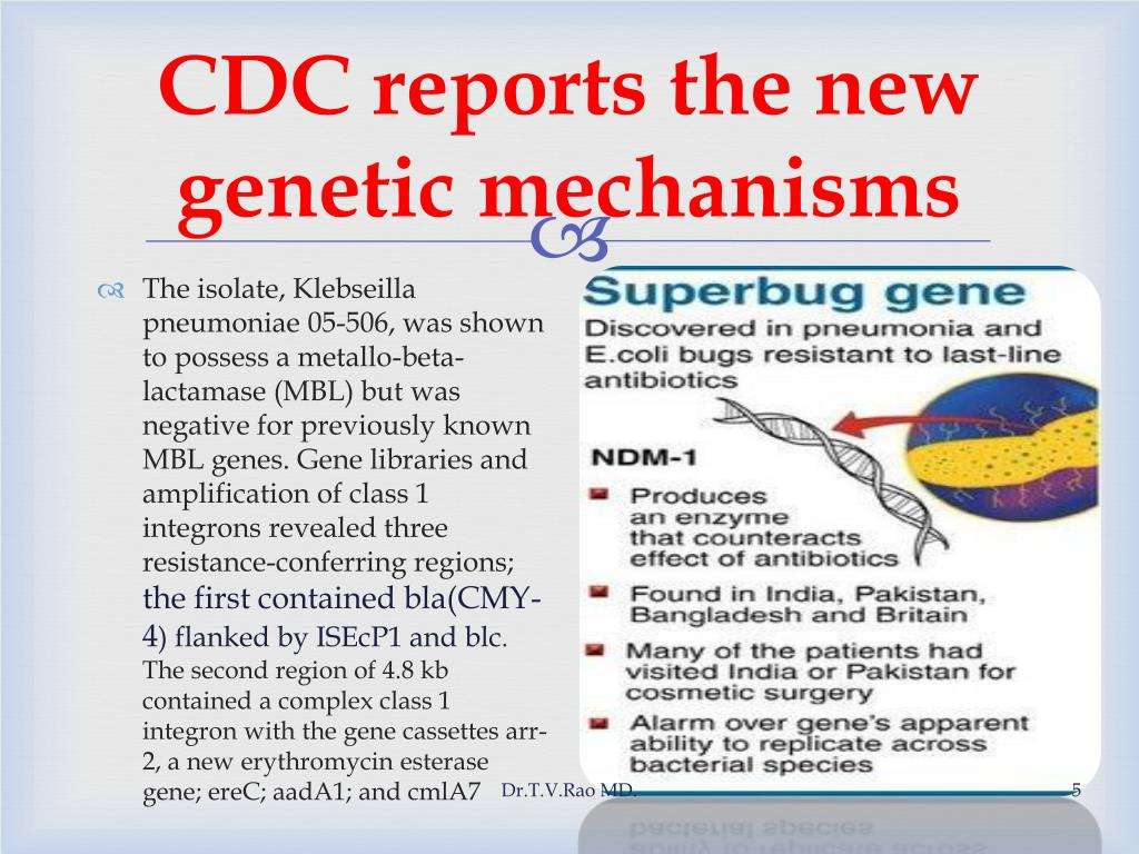 CDC reports the new genetic mechanisms