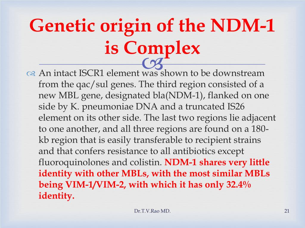 Genetic origin of the NDM-1 is Complex